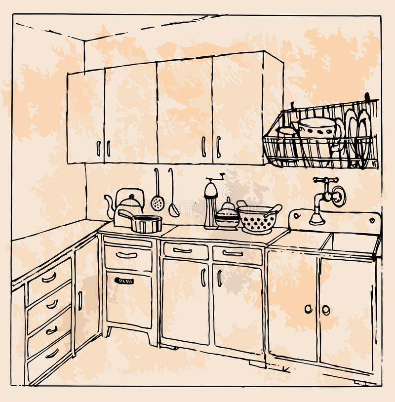 Retro Kitchen Illustration: Hand-drawn Vintage Kitchen Stock Vector. Illustration Of