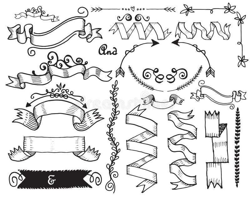 Hand Drawn Vintage Label stock illustration