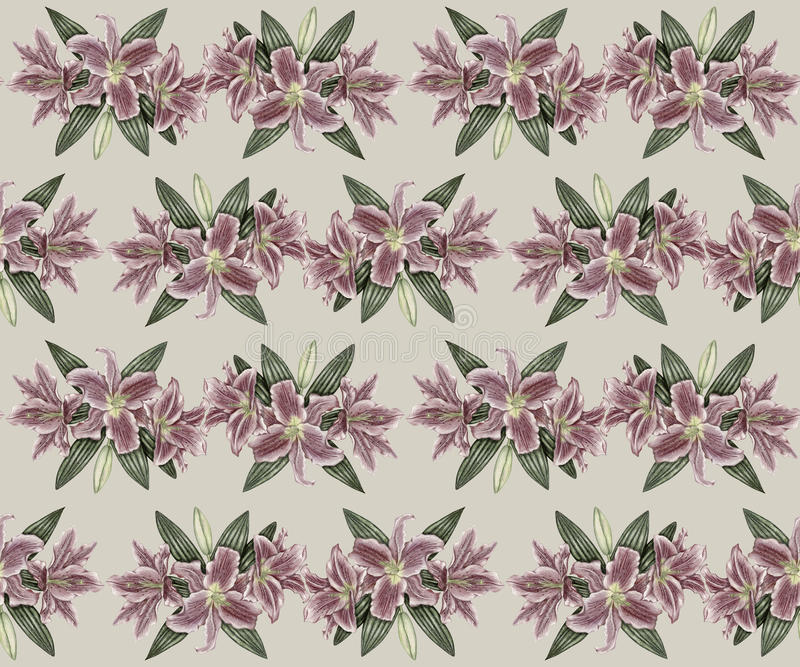 Download Hand-drawn Vintage Lily Seamless Pattern Stock Illustration - Image: 33011961