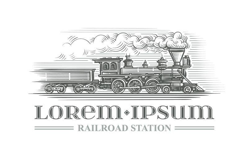 Hand drawn vintage locomotive engraving style. Vector. Text outlined. vector illustration
