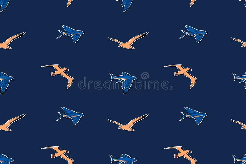 Hand drawn vintage marine wildlife seamless pattern vector illustration. Albatross, gull and flying fish sketch endless background. Hand drawn vintage marine royalty free illustration