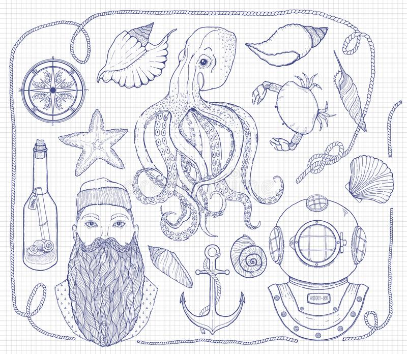 Hand drawn Vintage nautical Set. It consists of octopus, anchor, sailor, bottle with a message, seashells, crab, compass, diving h royalty free illustration