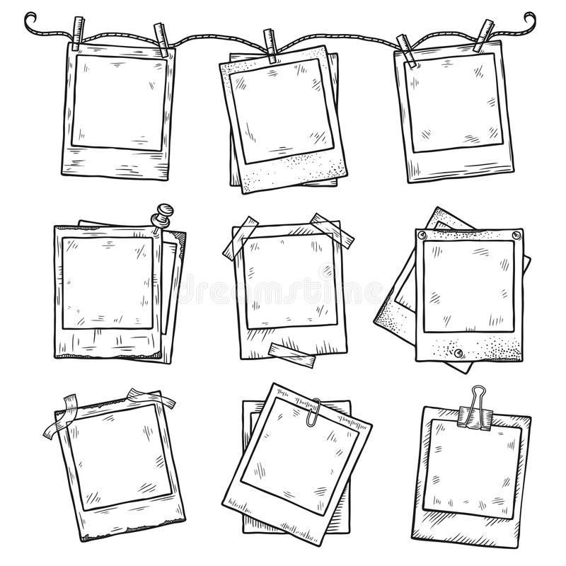 Free Hand Drawn Vintage Photo Frame Doodle Set Royalty Free Stock Image - 59987836