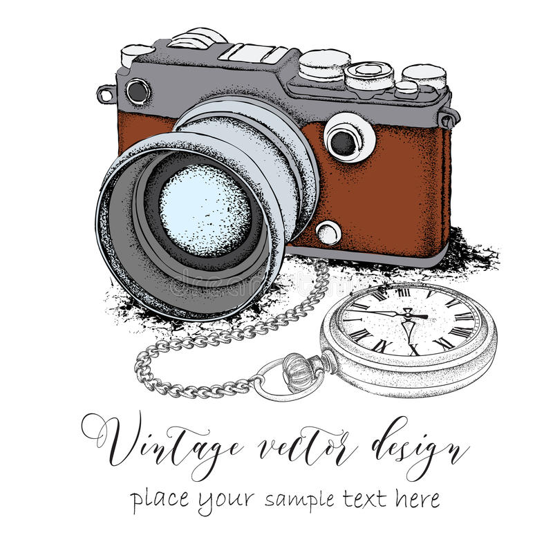 Hand drawn vintage postcard. Camera with pocket watch on a chainon. Vector illustration. Hand drawn vintage postcard. Camera with pocket watch on a chainon royalty free illustration