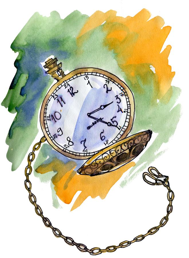 Hand drawn vintage postcard. A pocket watch on abstract background with Watercolor Stains royalty free illustration