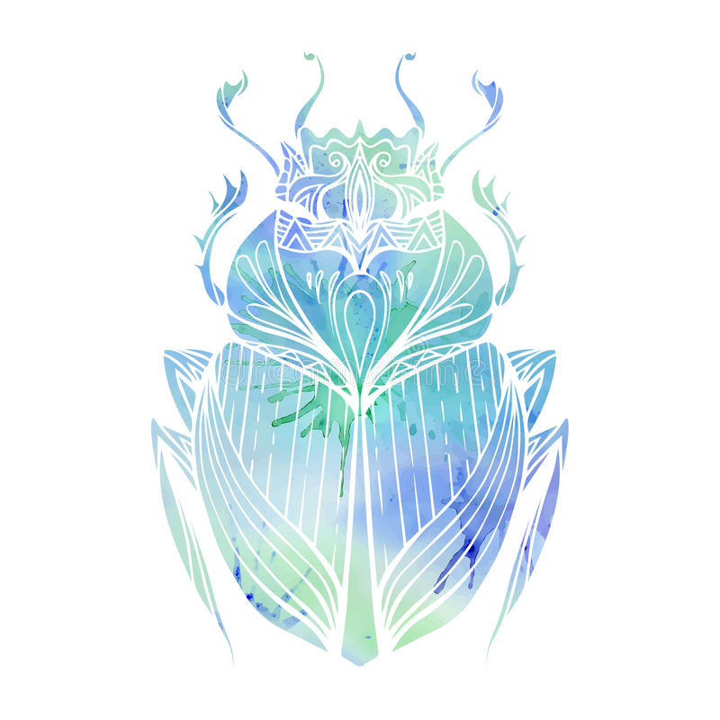 Hand drawn vintage scarab with blue watercolor background stock illustration