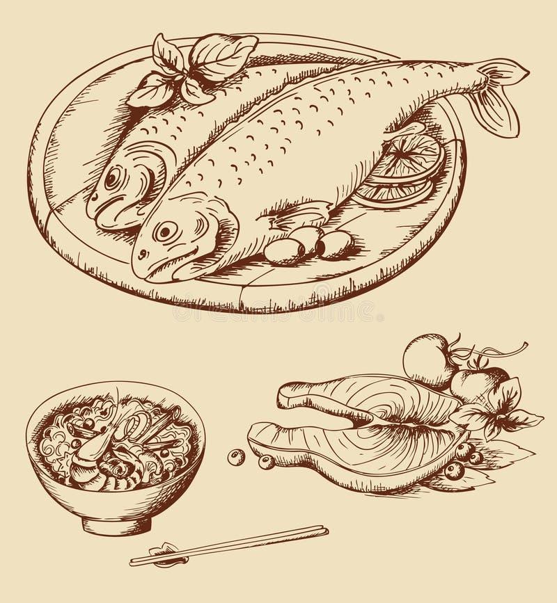 Hand drawn vintage seafood vector illustration