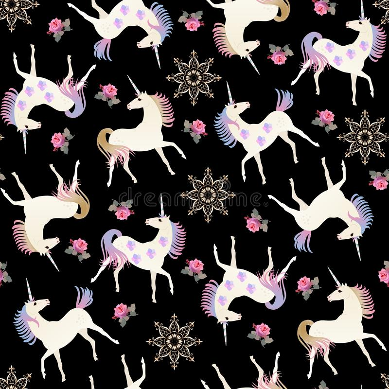 Hand drawn vintage seamless pattern with fairy unicorns, golden mandala flowers and pink roses on black background in vector stock illustration
