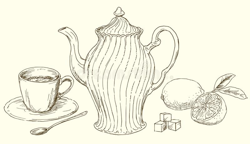 Vintage teapot and cup of tea with lemon. Hand drawn vintage teapot and cup of tea with lemon stock illustration