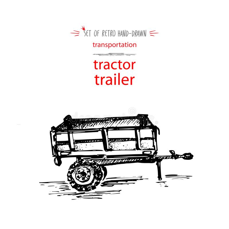 Free Hand-drawn Vintage Transport Tractor Trailer. Quick Ink Sketch. Vector Black Illustration Isolated On White Background Stock Image - 119976591