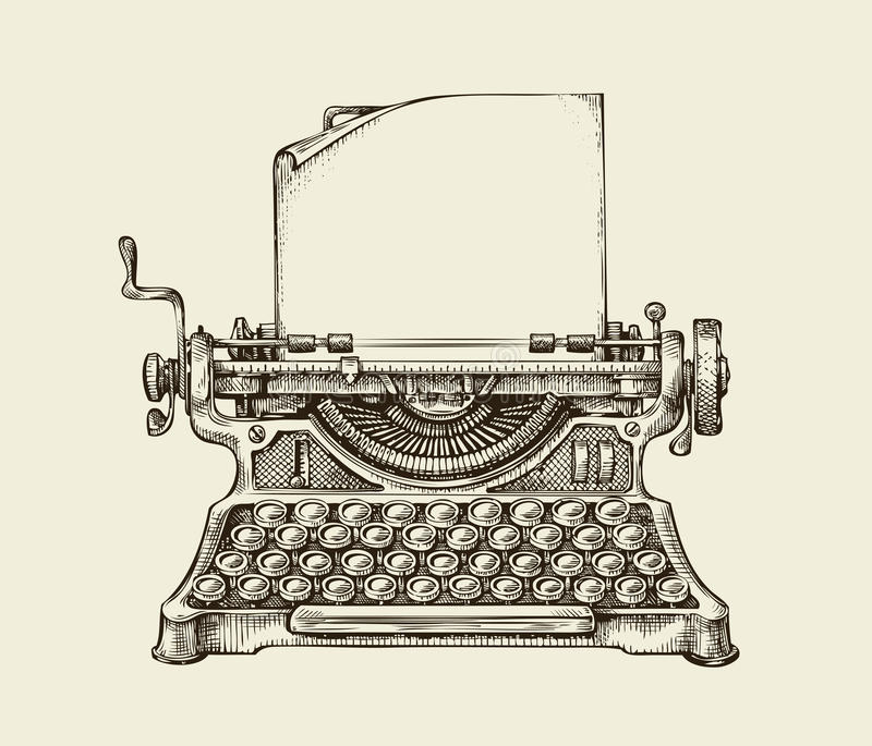 Hand drawn vintage typewriter. Sketch publishing. Vector illustration stock illustration