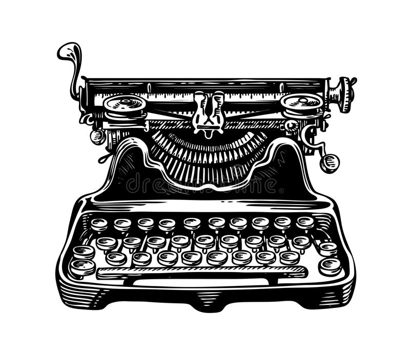 Hand-drawn vintage typewriter, writing machine. Publishing, journalism symbol. Sketch vector illustration. Isolated on white background stock illustration