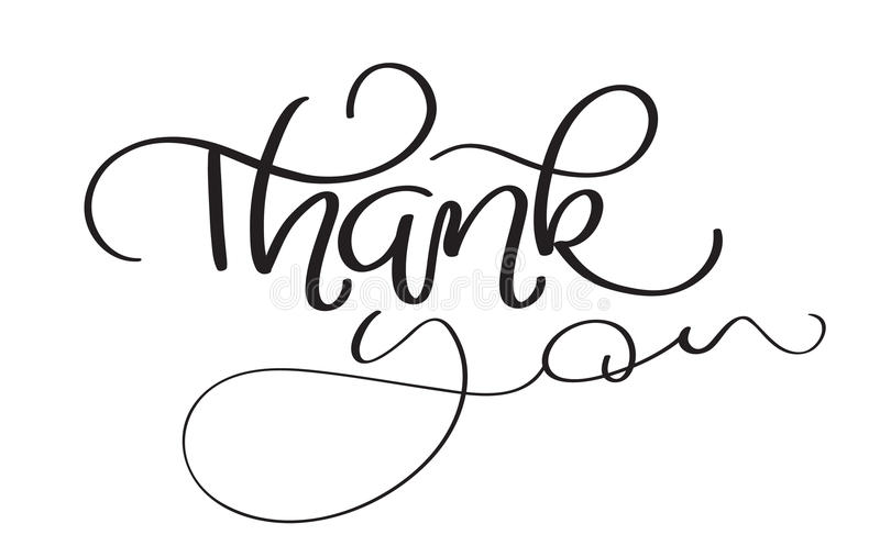 Hand drawn vintage vector text thank you on white