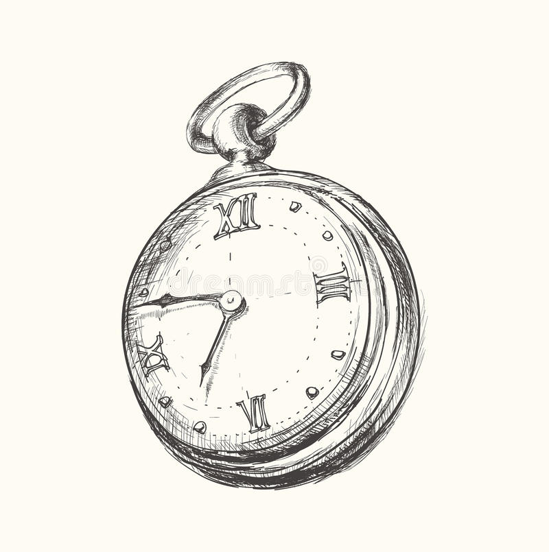 Hand drawn vintage watch clock sketch vector illustration royalty free illustration