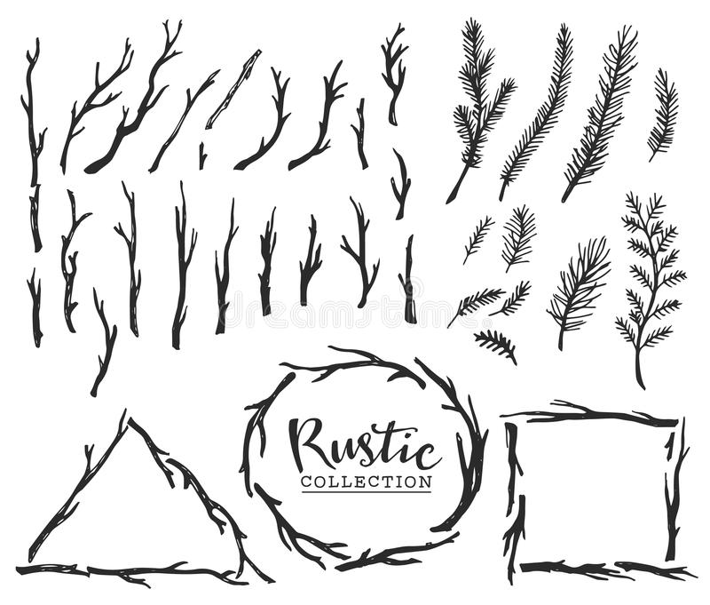Hand drawn vintage wood tree branches and wreaths. Rustic decorative vector design set. stock illustration