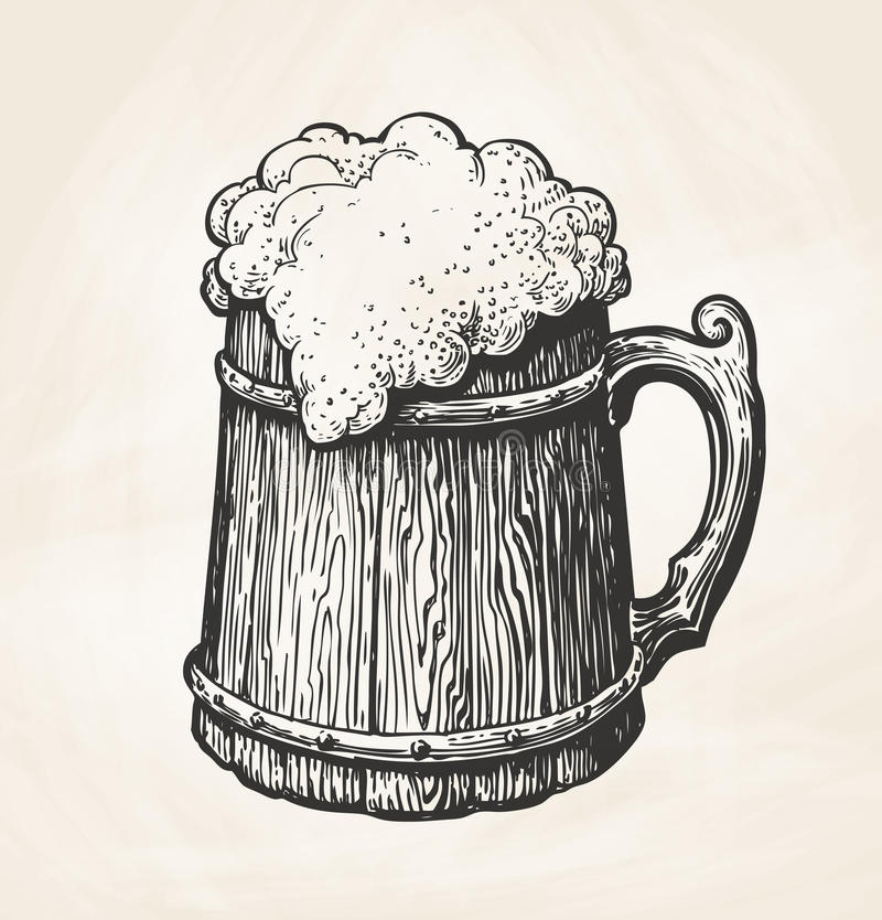 Hand-drawn vintage wooden mug with foam, sketch. Drink, beer, ale symbol. Vector illustration for design menu bar, pub. Hand-drawn vintage wooden mug with foam stock illustration