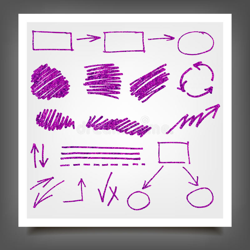Hand drawn violet gold design elements. Hand drawn violet gold marker, pen signs, arrows, lines, shapes, hand written, speech bubble, textures, design elements stock illustration