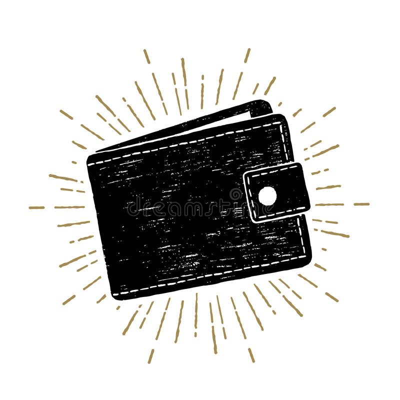 Hand drawn wallet vector illustration. Hand drawn wallet textured vector illustration vector illustration
