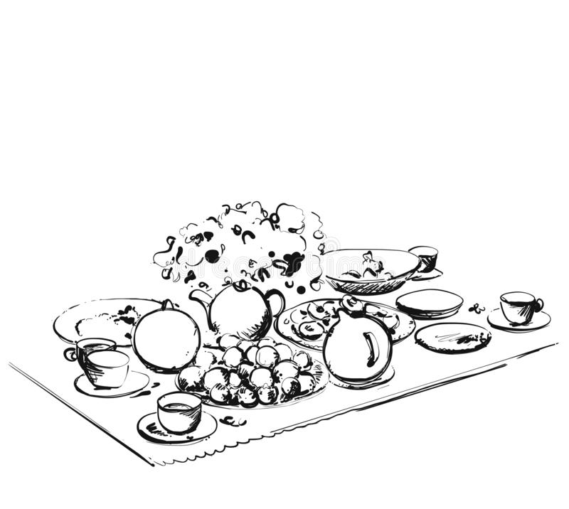 Hand Drawn wares sketch. Romantic dinner for two royalty free stock photos