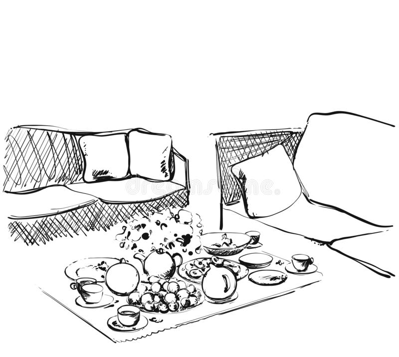 Hand Drawn wares sketch. Romantic dinner for two. Food and drink in interior stock images