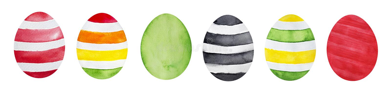Happy easter eggs, multi colored. stock illustration