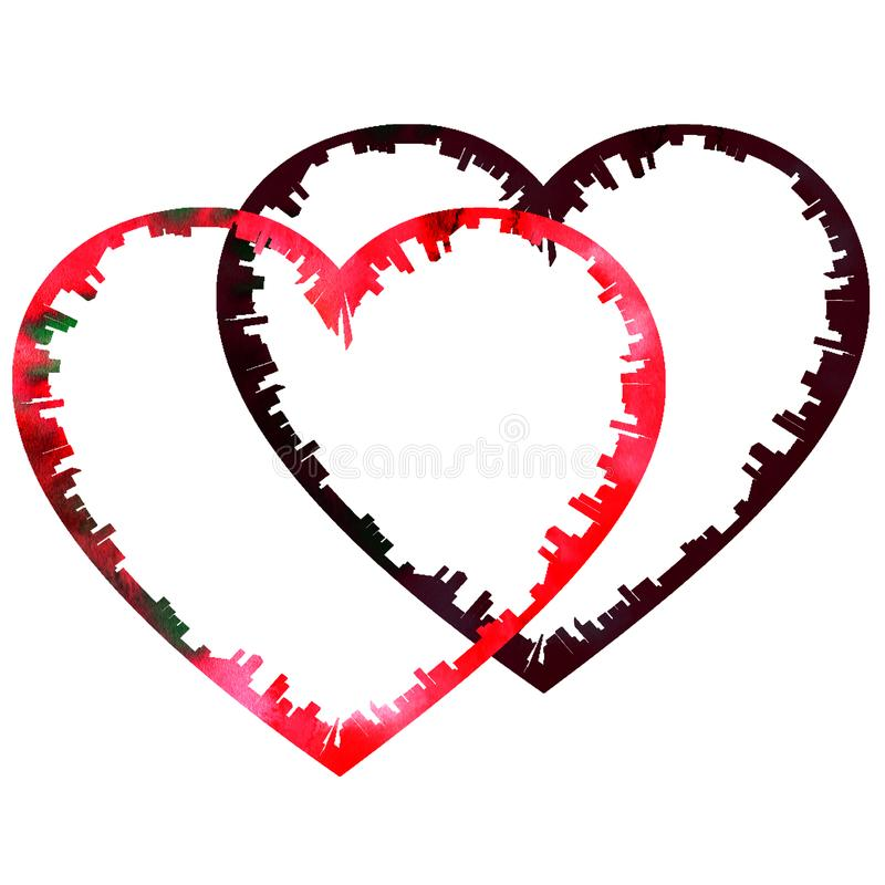 Hand-drawn watercolor της υφής κουρελιασμένη άκρη καρδιών βαλεντίνων κόκκινη ελεύθερη απεικόνιση δικαιώματος