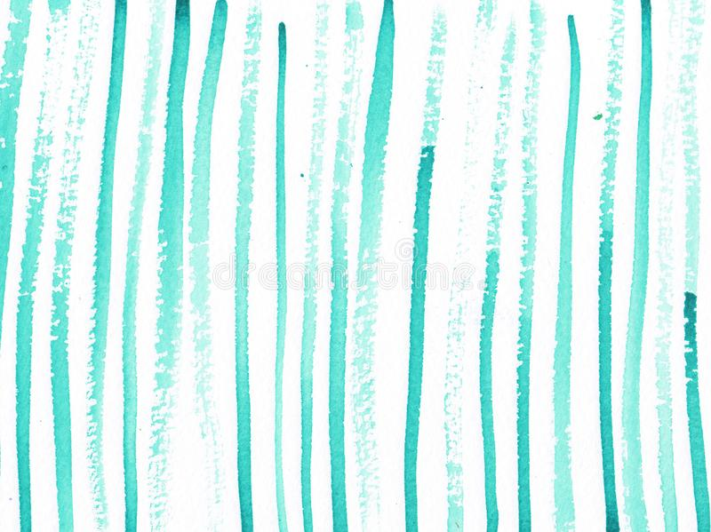 Watercolor abstract background with turqouise lines stock illustration