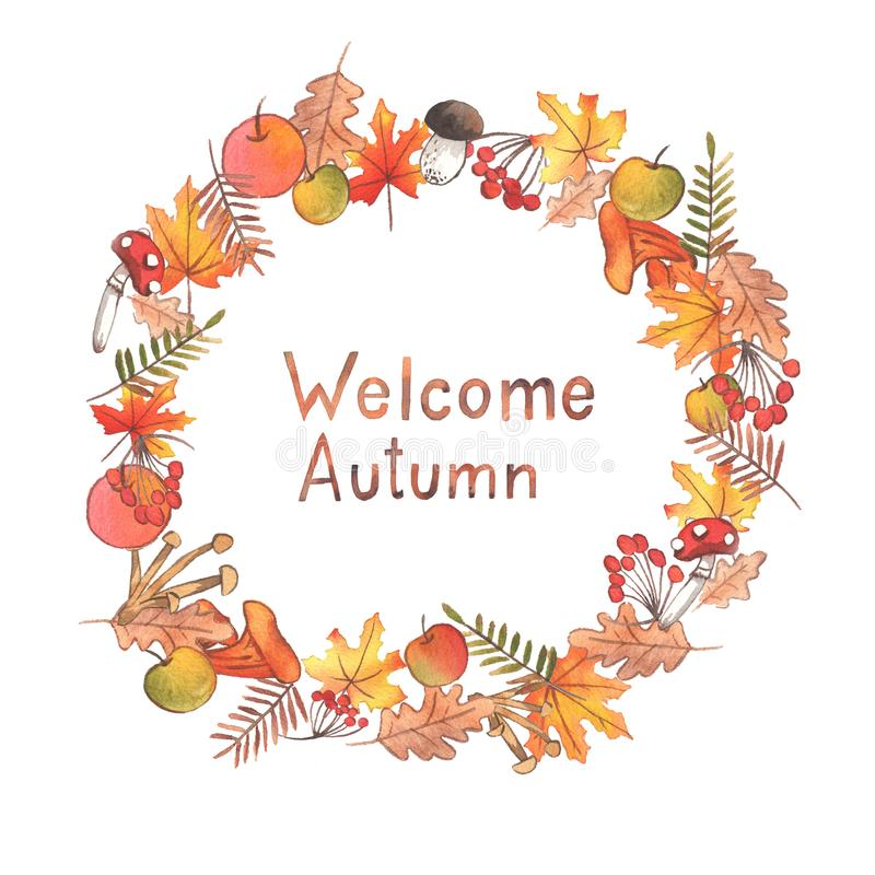 Hand drawn watercolor autumn illustration.. Beautiful wreath with lettering. vector illustration