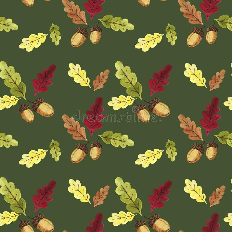 Hand drawn watercolor autumn oak seamless pattern. Colorful oak leaves and acorns on the branches seamless texture royalty free illustration