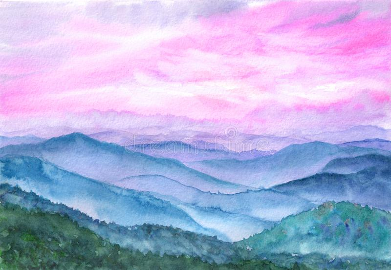 Watercolor illustration of landscape. Asian hills, beautiful sky royalty free stock photography