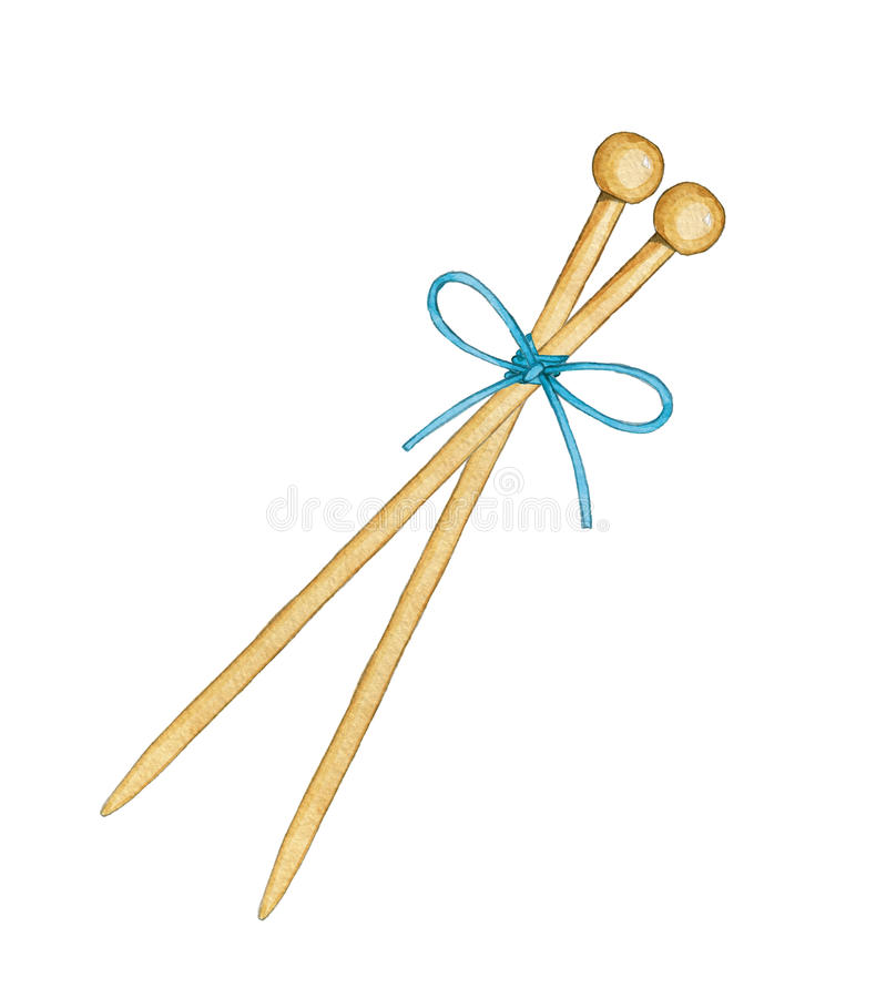 hand drawn watercolor bamboo knitting needles tied bow white background 93869009