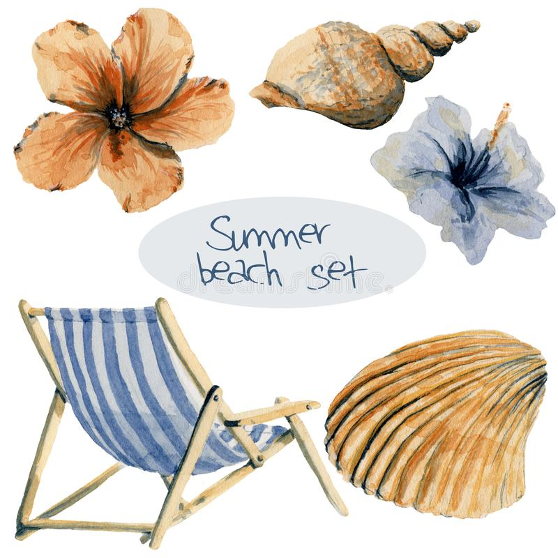 Hand drawn watercolor beach set: chair, flowers and shells. Vacation objects stock illustration