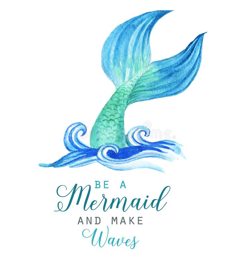 Hand-drawn watercolor beautiful mermaid character illustration. Sea template for poster, card, invitation vector illustration