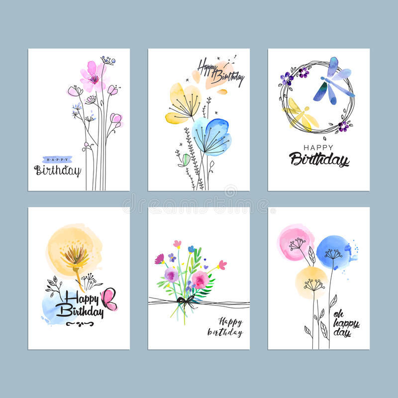 Hand drawn watercolor birthday greeting cards stock illustration