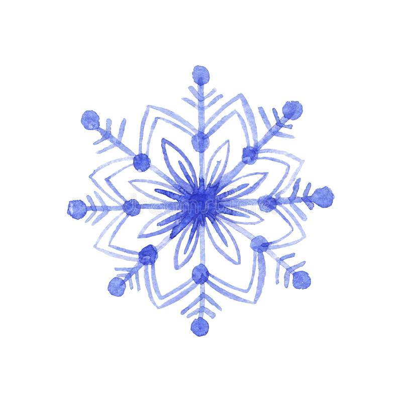 Hand drawn watercolor blu freezing snowflake isolated on white background. Holiday traditional decoration, sign of winter, cold we. Ather. Can be used for print royalty free illustration