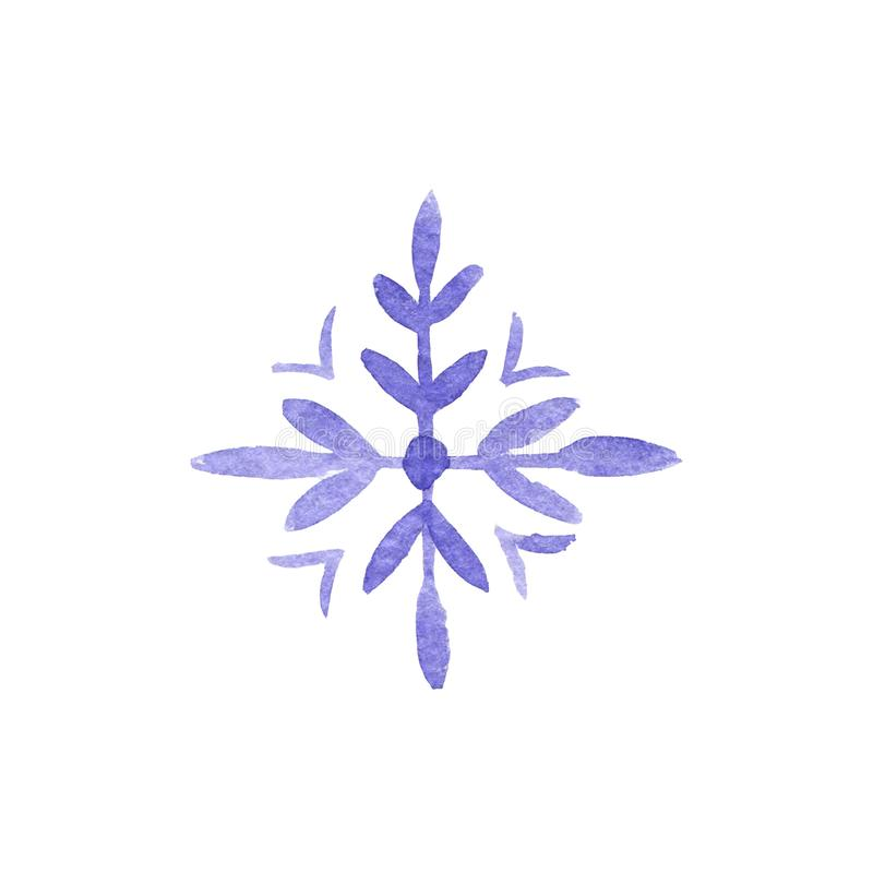 Hand drawn watercolor blu violet freezing snowflake isolated on white background. Holiday traditional decoration, sign of winter,. Cold weather. Can be used for vector illustration