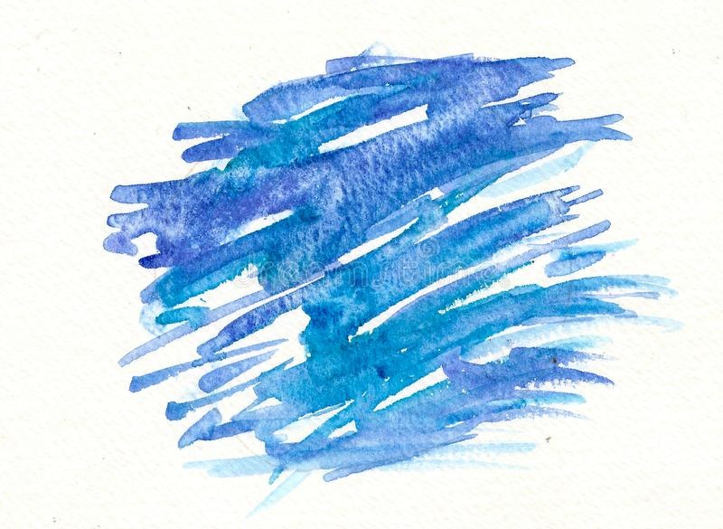Hand drawn watercolor blue label, brush strokes royalty free stock images