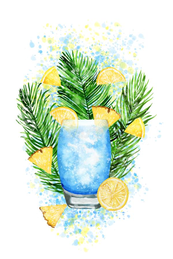 Hand drawn watercolor blue lagoon cocktail on paint splashes. Hand-drawn watercolor illustration of blue lagoon cocktail with pineapple, lemon on paint splashes royalty free illustration