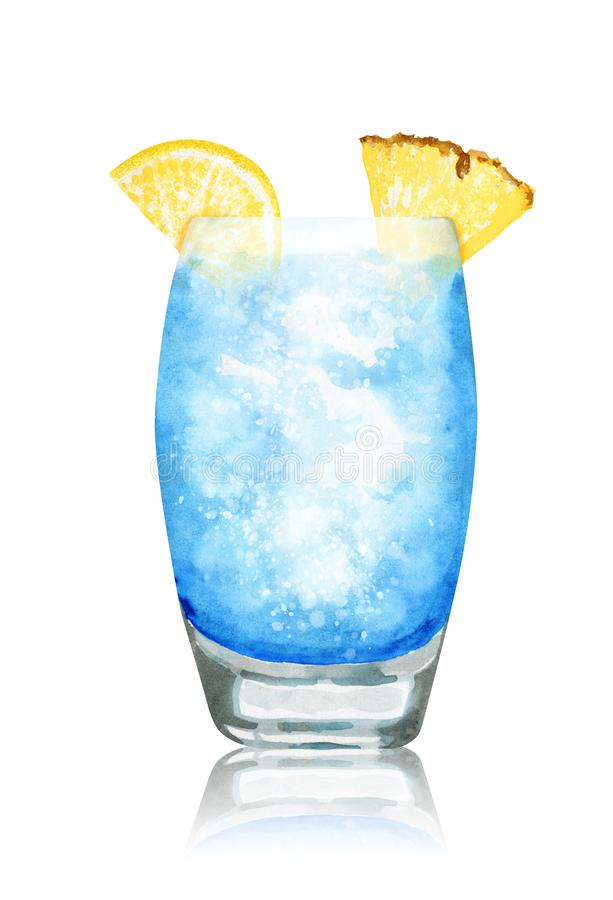 Hand drawn watercolor blue lagoon cocktailon white background. Hand-drawn watercolor illustration of blue lagoon cocktail with pineapple, lemon and reflection on royalty free illustration