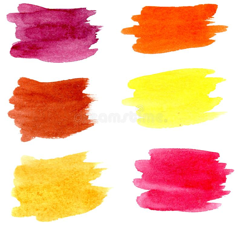 Hand drawn watercolor brush stains set stock photography