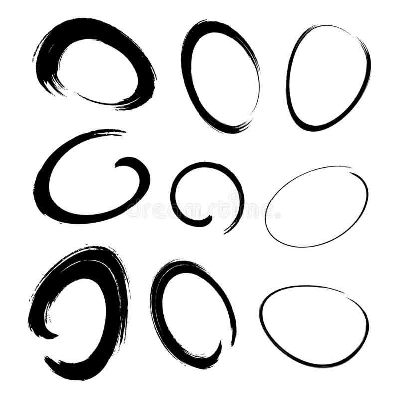 Free Hand Drawn Watercolor Circle Brush Stroke Set. Grunge Chalk Scribble Ellipse And Circle Design Elements. Vector Doodle. Stock Image - 182312251