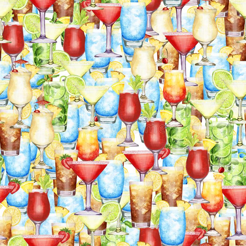 Hand drawn watercolor cocktail  crowd seamless pattern. Hand-drawn watercolor pattern with too many cocktails blue lagoon, Pina colada, long island ice tea royalty free illustration