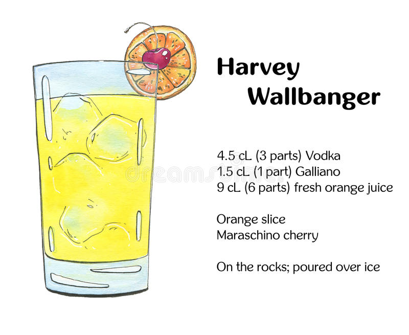 Hand drawn watercolor cocktail Harvey Wallbanger on white background royalty free illustration