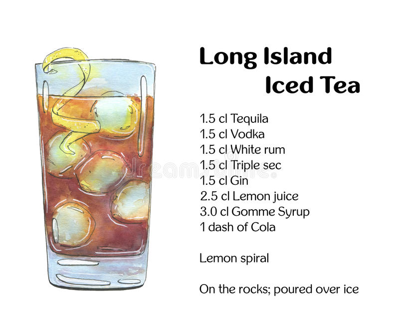 hand drawn watercolor cocktail Long Island Iced Tea on white background stock illustration