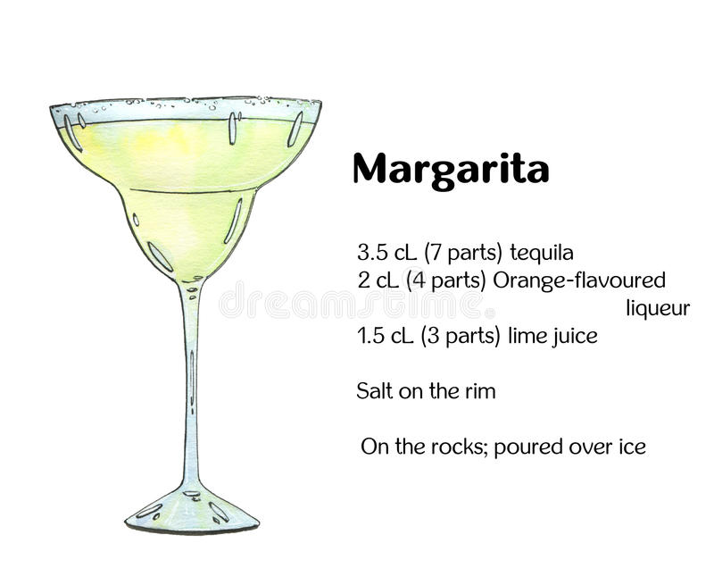 Hand drawn watercolor cocktail Margarita royalty free illustration