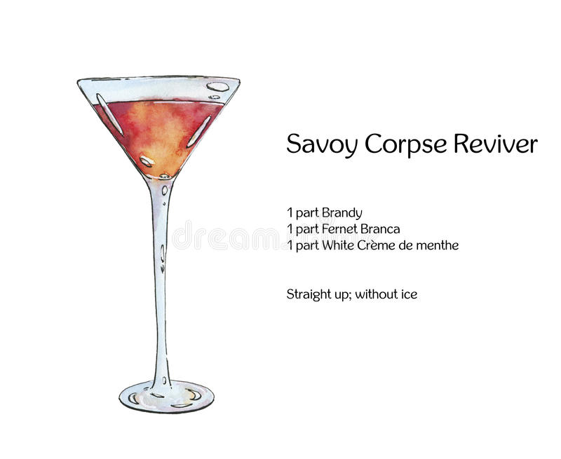 Hand drawn watercolor cocktail Savoy Corpse Reviver on white background vector illustration