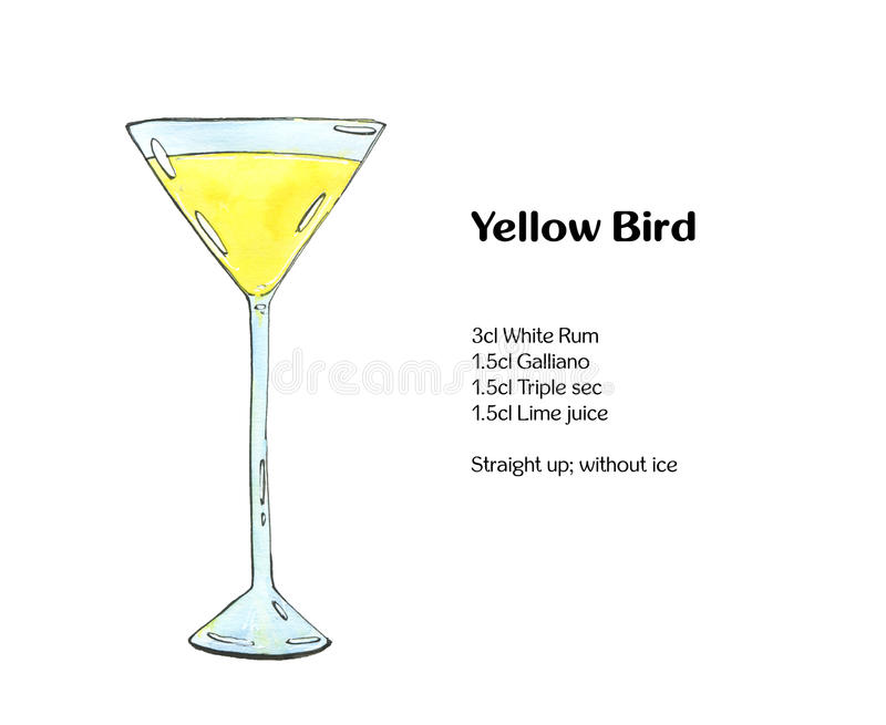 Hand drawn watercolor cocktail Yellow Bird. On white background vector illustration