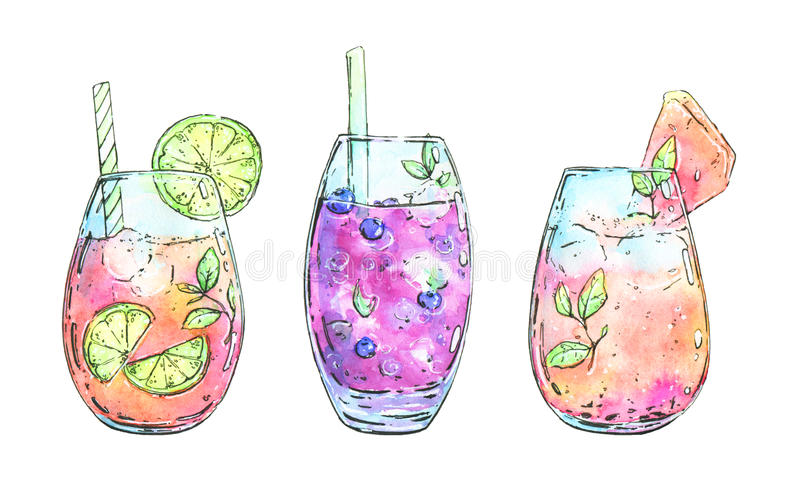 Hand drawn watercolor cocktails. On white background royalty free illustration