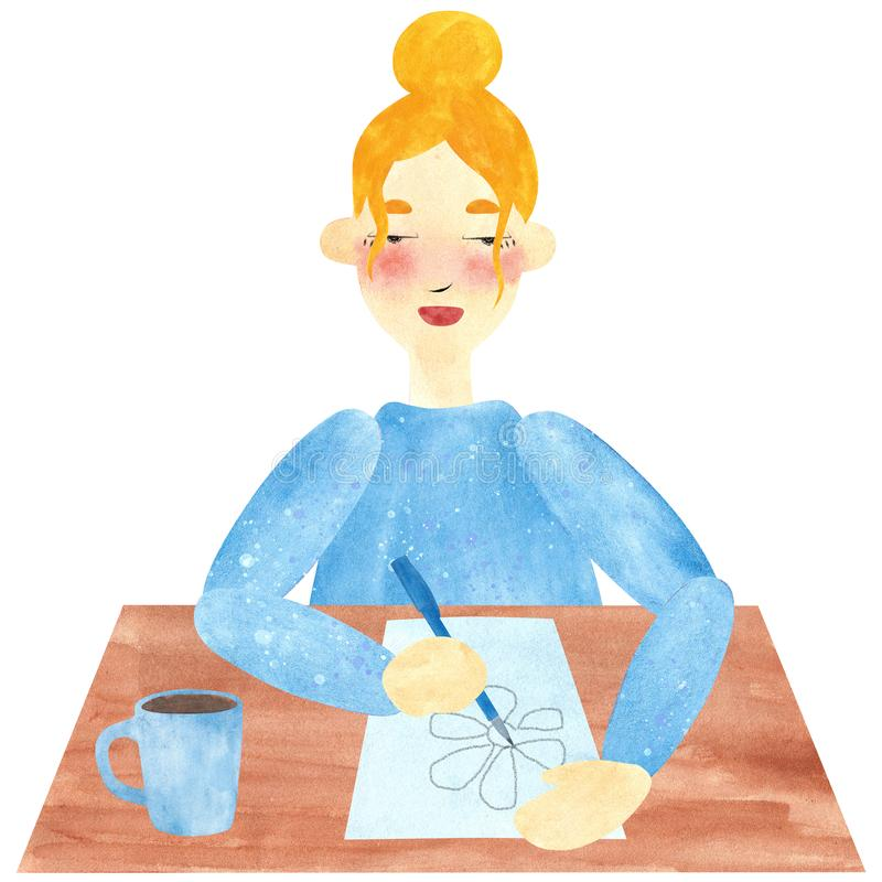 A girl with blond hair in blue, drawing and relaxing in a pause. Hand drawn watercolor collage of a girl with blond hair in blue, drawing and relaxing in a pause vector illustration