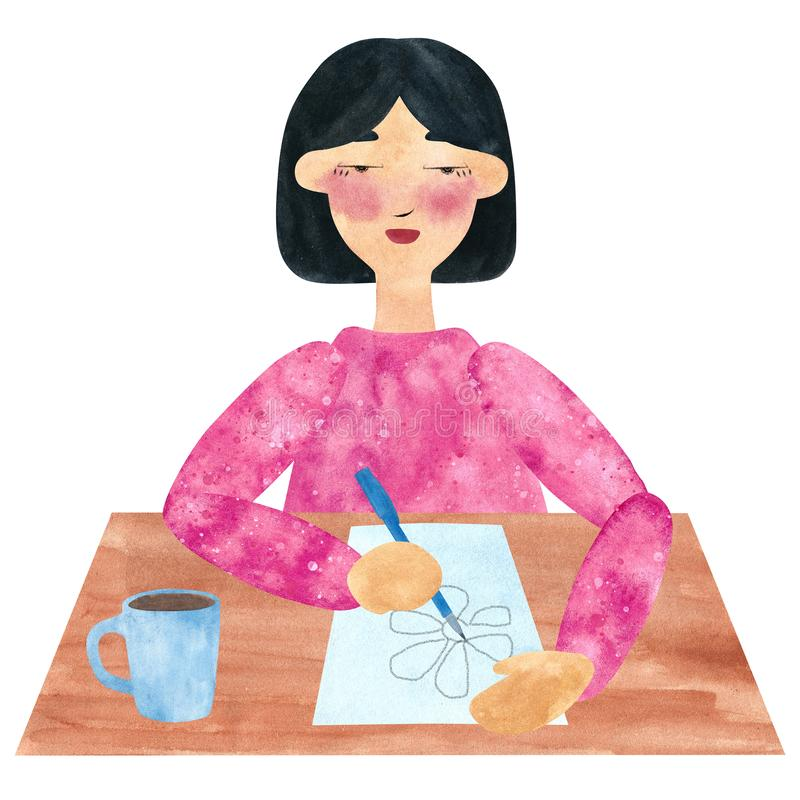 A girl with dark straight hair in pink, drawing and relaxing in a pause. Hand drawn watercolor collage of a girl with dark straight hair in pink, drawing and vector illustration